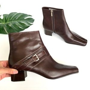 AK Anne Klein Leather Heeled Buckle Booties Brown